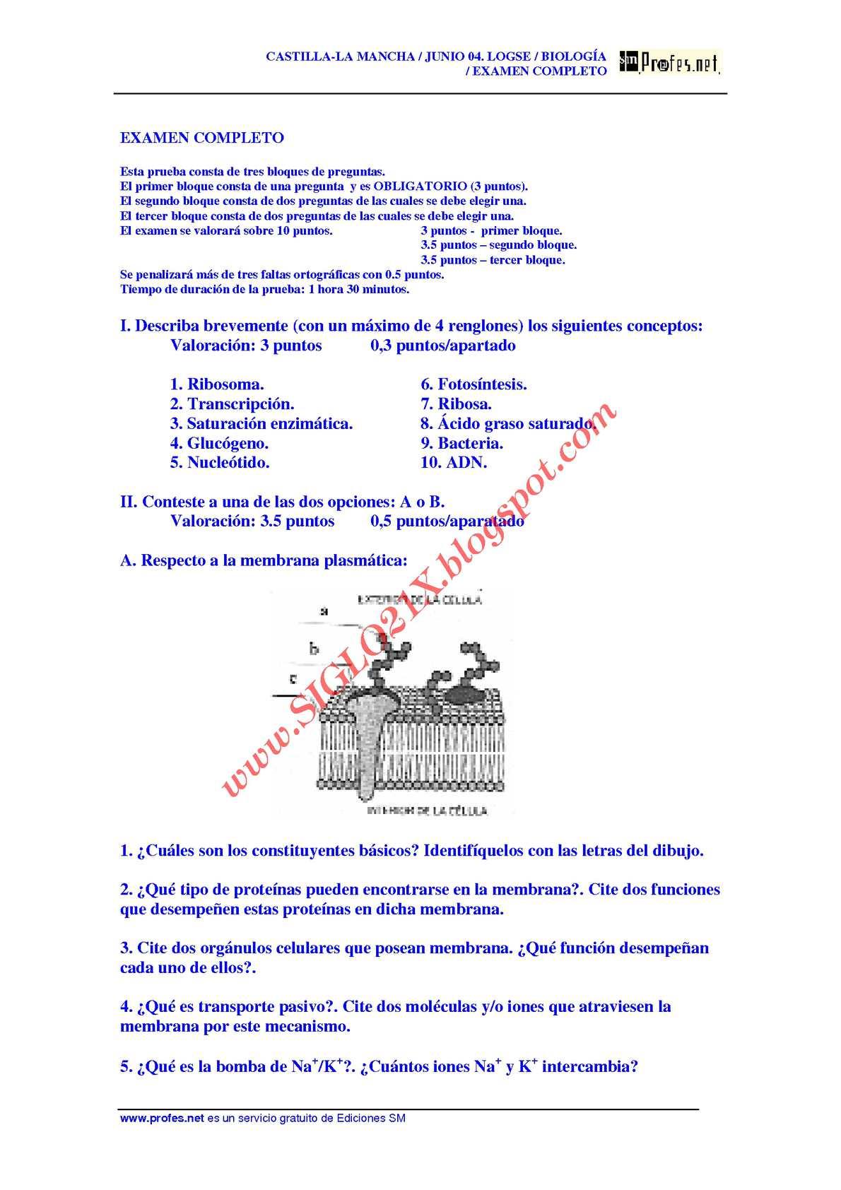 BIOLOGIA-SELECTIVIDAD-EXAMEN 1 RESUELTO- CASTILLA-LA MANCHA-www.SIGLO21X.blogspot.com