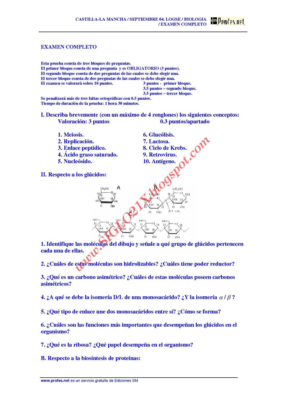 BIOLOGIA-SELECTIVIDAD-EXAMEN 2 RESUELTO- CASTILLA-LA MANCHA-www.SIGLO21X.blogspot.com