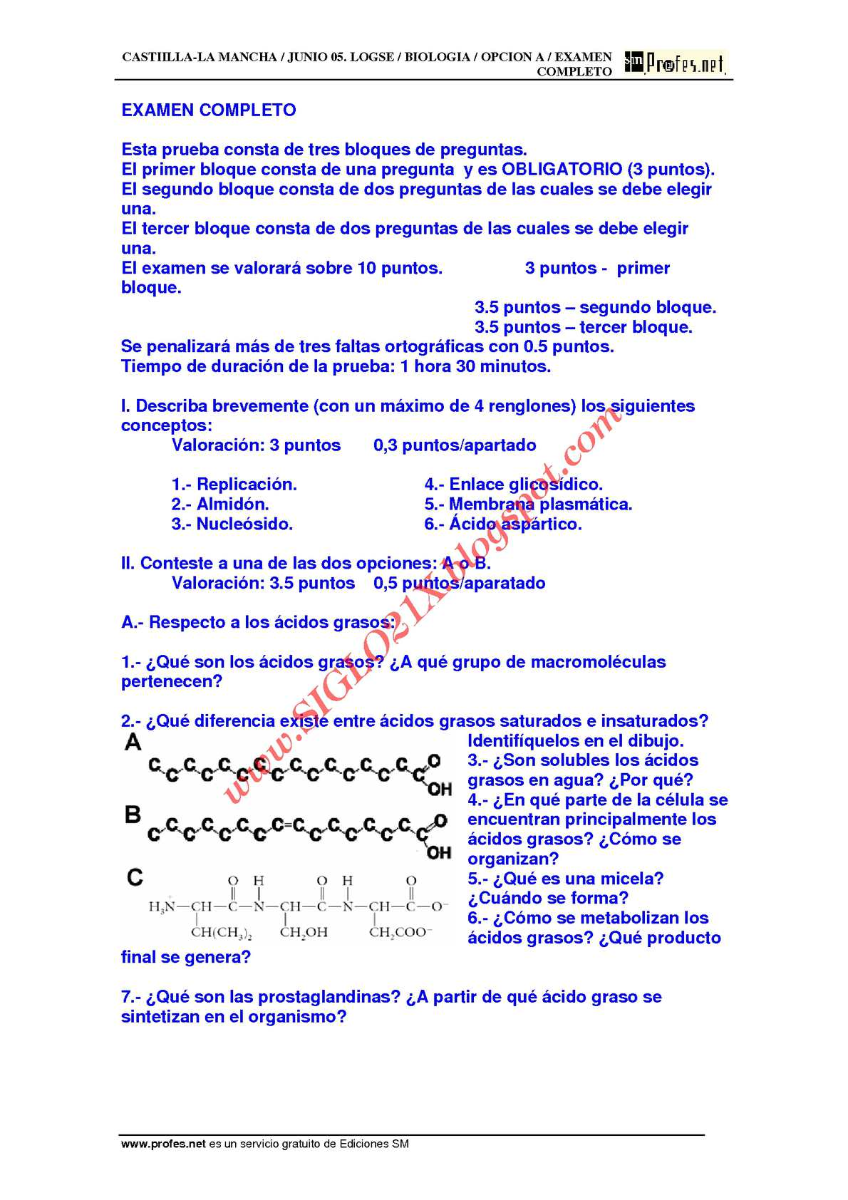 BIOLOGIA-SELECTIVIDAD-EXAMEN 3 RESUELTO- CASTILLA-LA MANCHA-www.SIGLO21X.blogspot.com
