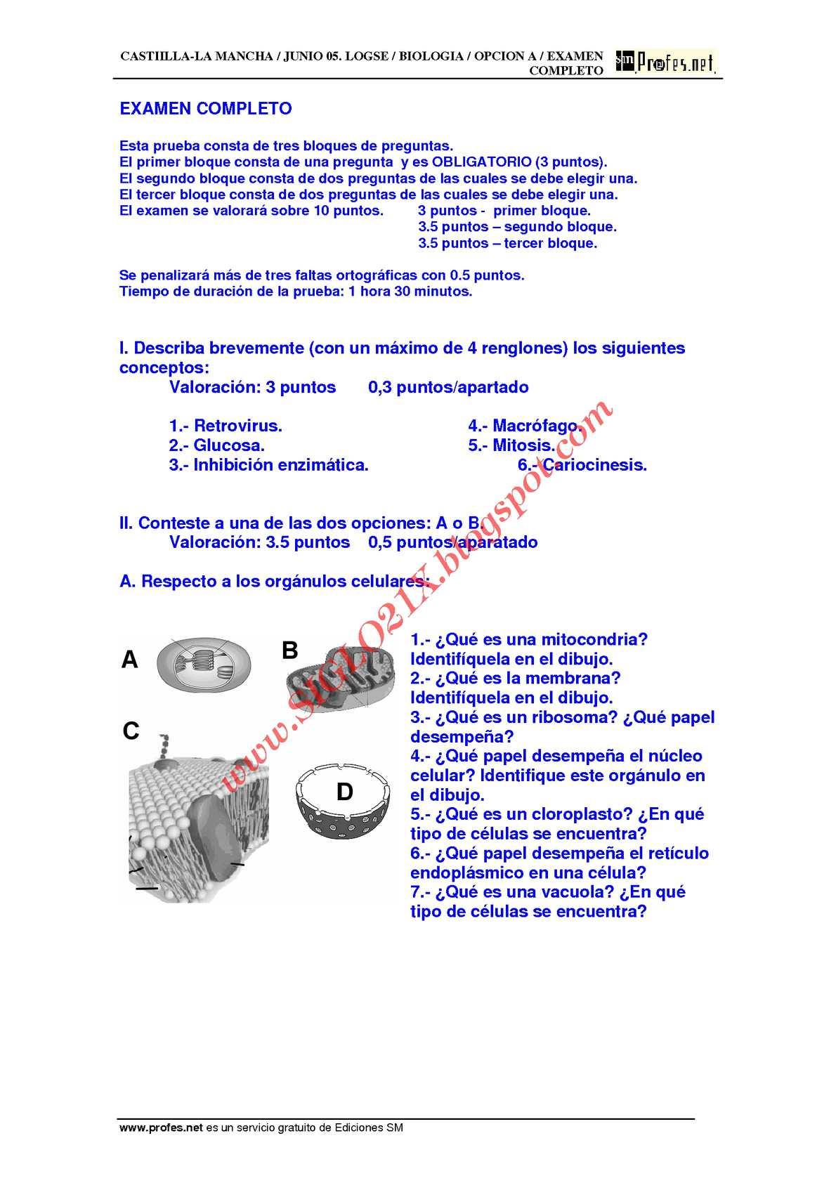 BIOLOGIA-SELECTIVIDAD-EXAMEN 4 RESUELTO- CASTILLA-LA MANCHA-www.SIGLO21X.blogspot.com