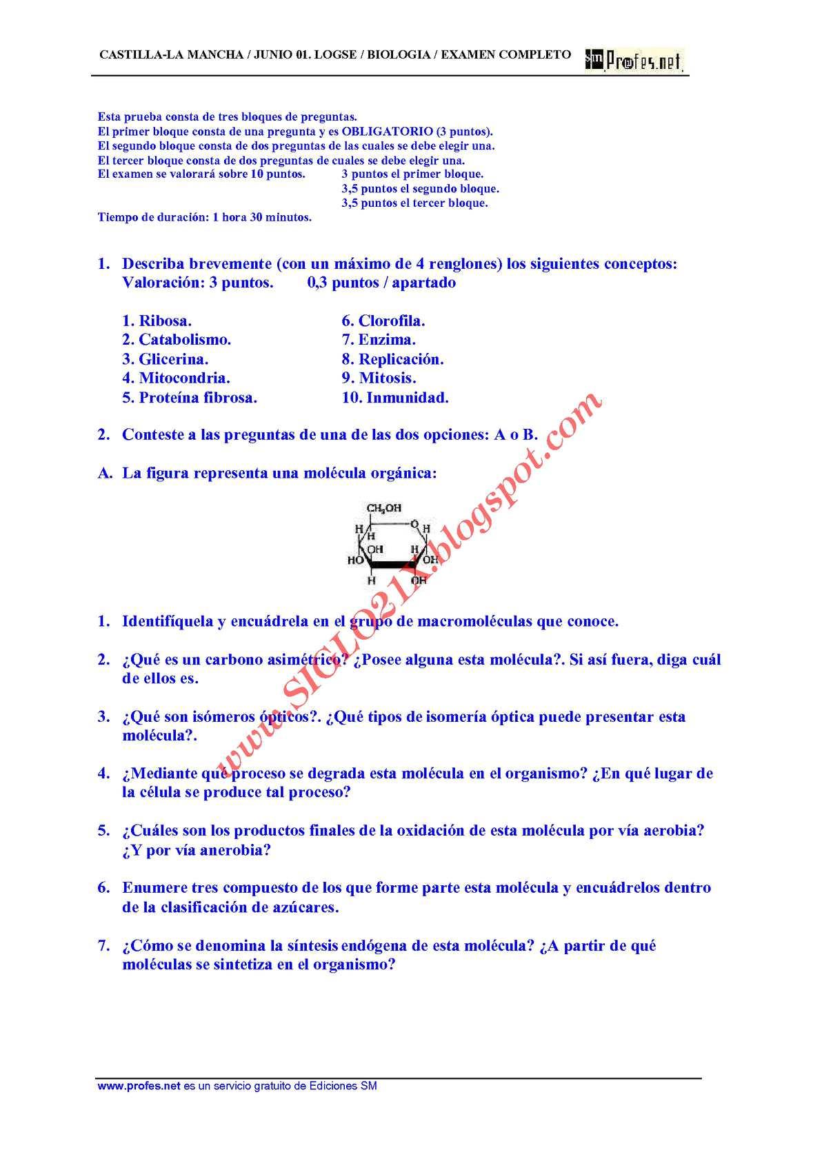 BIOLOGIA-SELECTIVIDAD-EXAMEN 5 RESUELTO- CASTILLA-LA MANCHA-www.SIGLO21X.blogspot.com