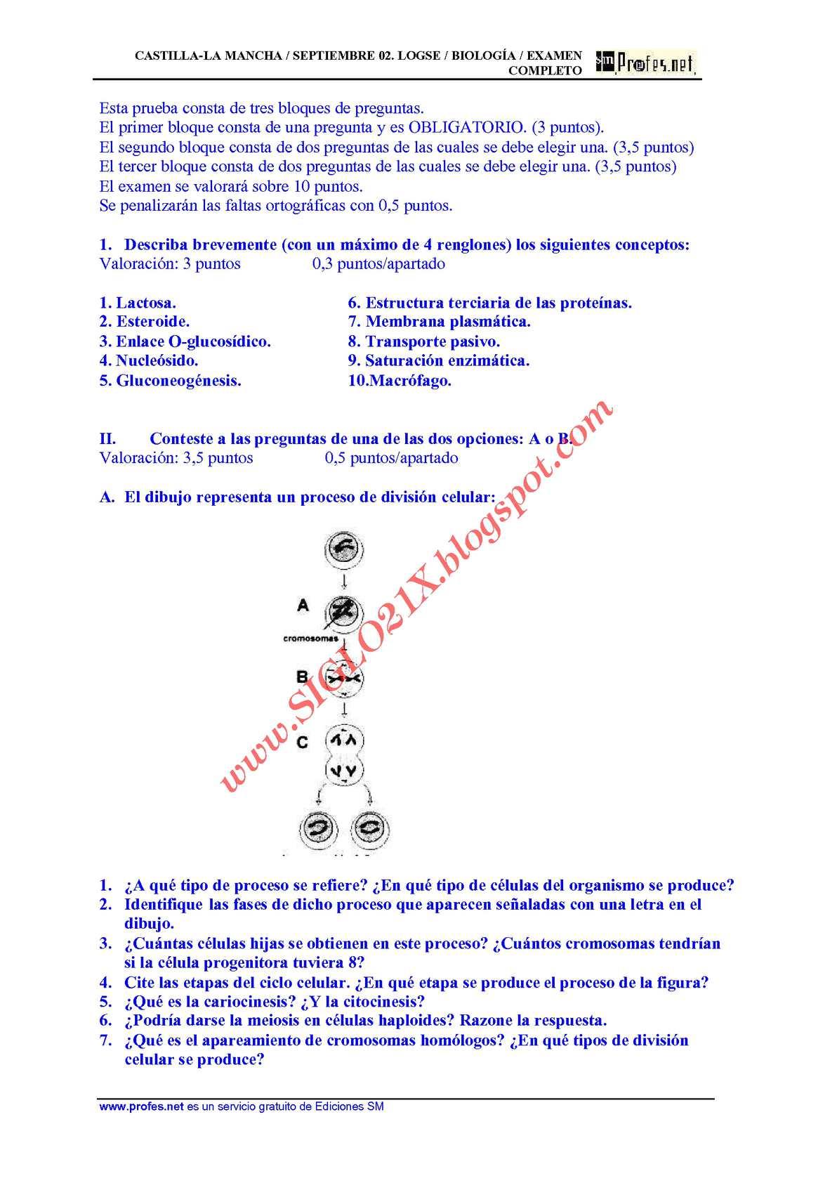 BIOLOGIA-SELECTIVIDAD-EXAMEN 9 RESUELTO- CASTILLA-LA MANCHA-www.SIGLO21X.blogspot.com