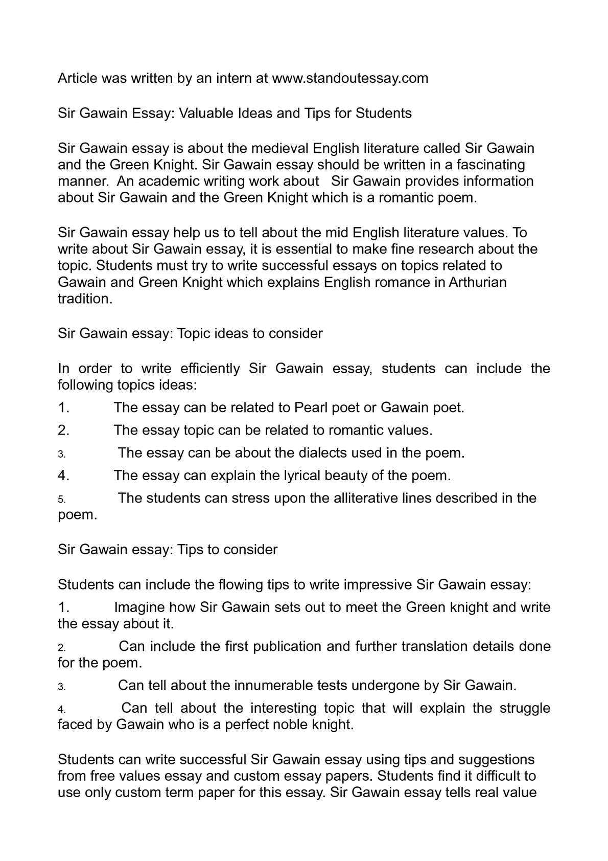 Calamo  Sir Gawain Essay Valuable Ideas And Tips For Students Sir Gawain Essay Valuable Ideas And Tips For Students