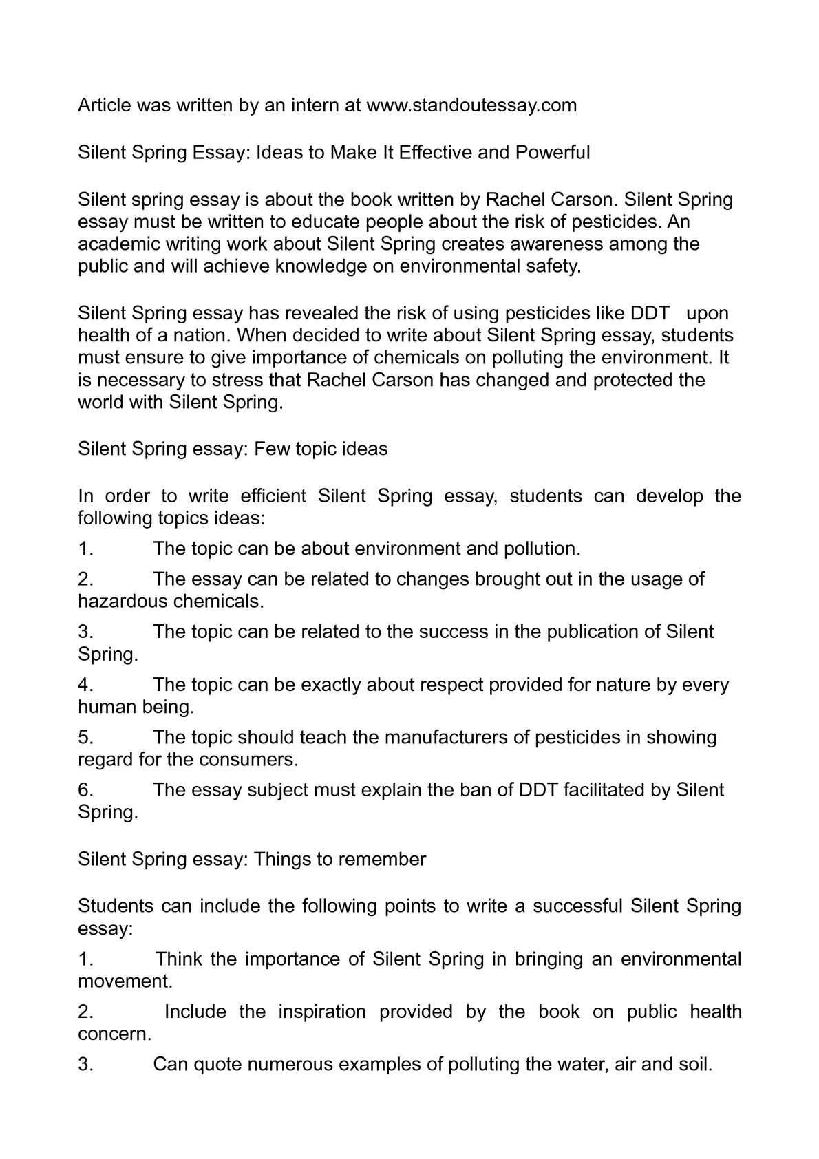 silent spring essay Professional essays on silent spring authoritative academic resources for essays, homework and school projects on silent spring.