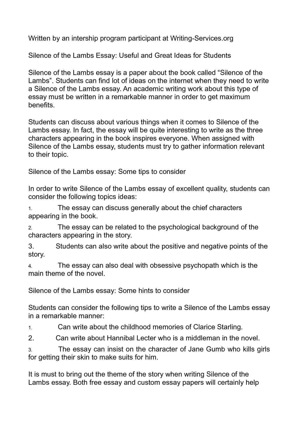 Calamo  Silence Of The Lambs Essay Useful And Great Ideas For  Calamo  Silence Of The Lambs Essay Useful And Great Ideas For Students