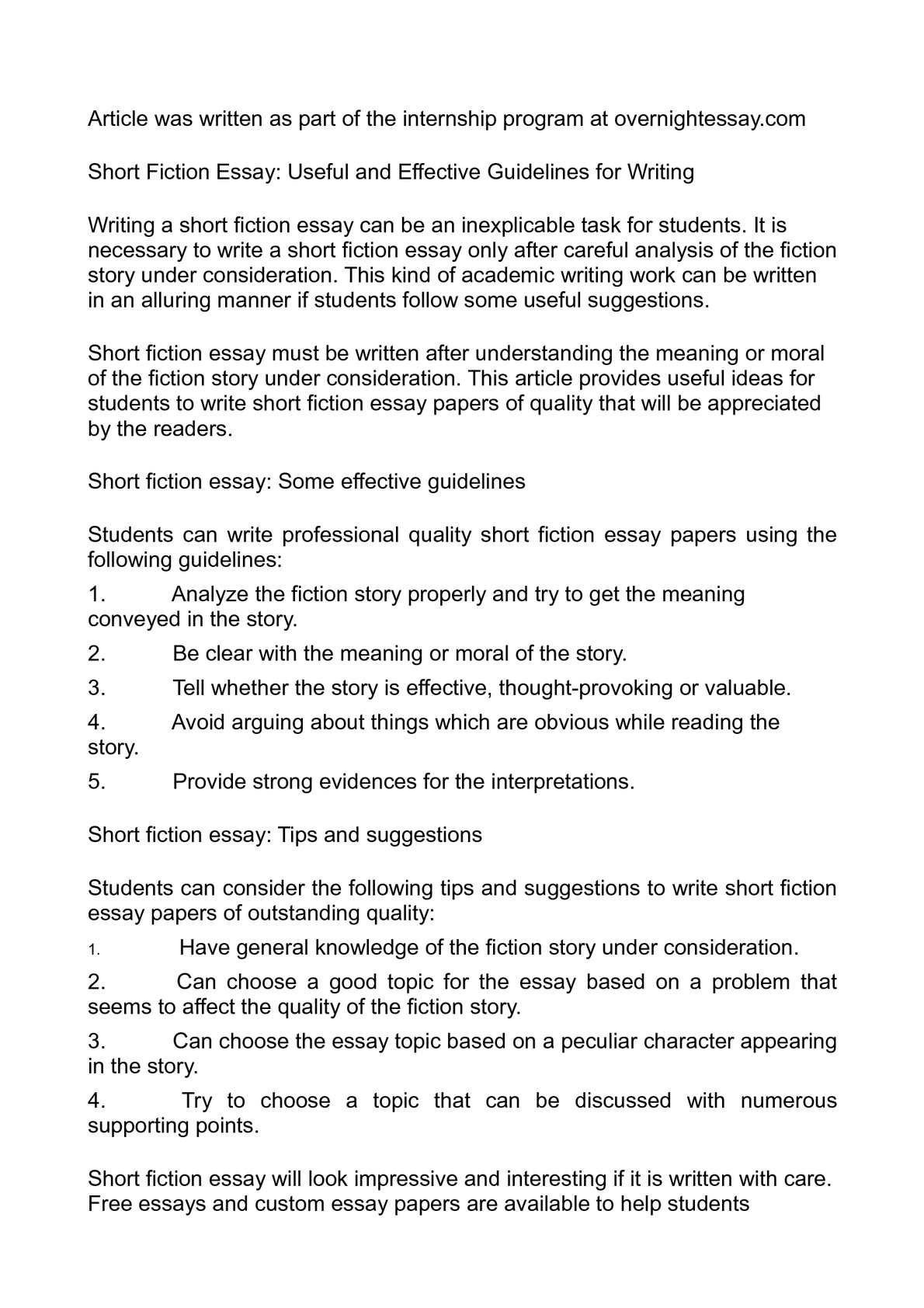 Calam o short fiction essay useful and effective guidelines for