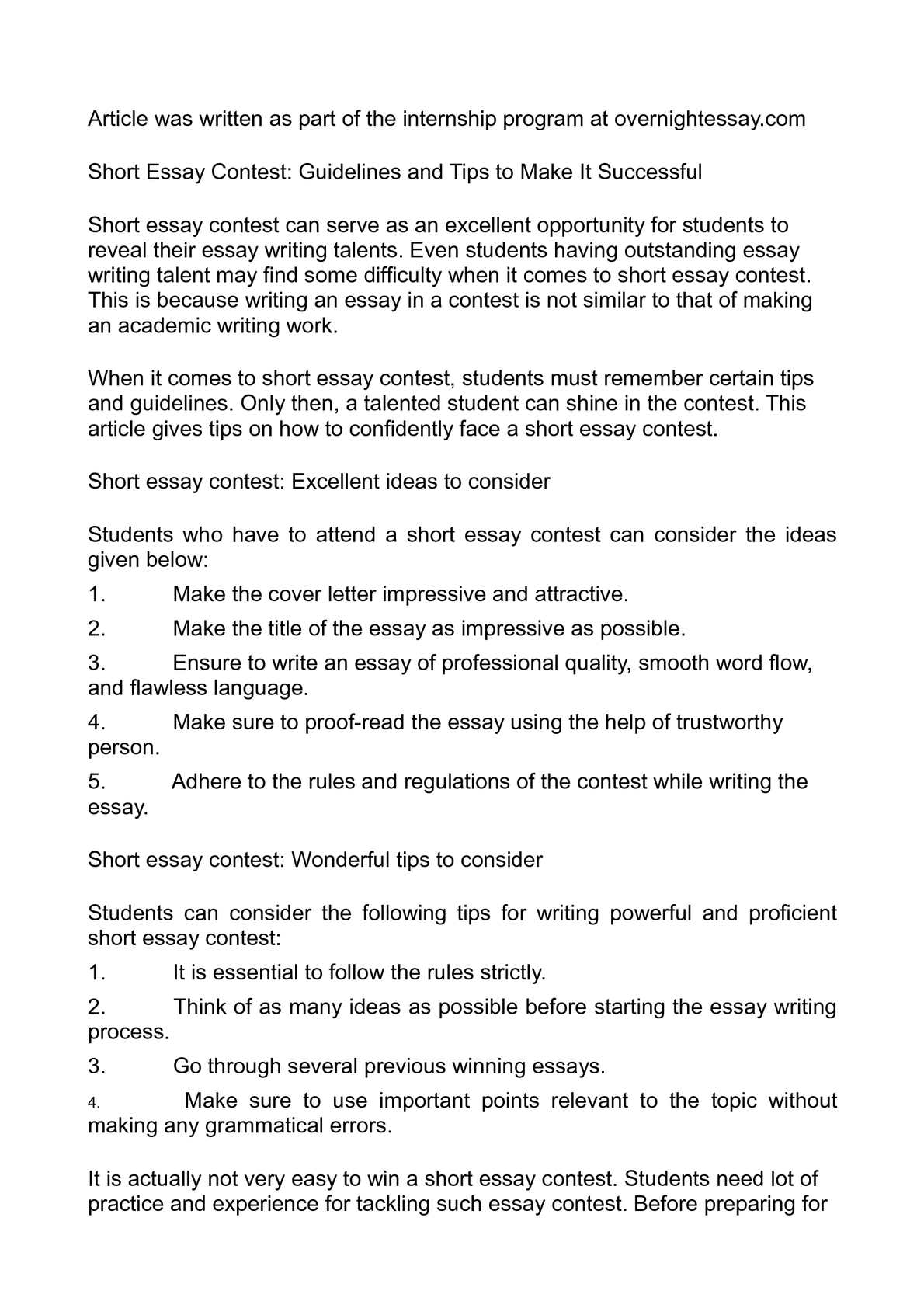Calamo  Short Essay Contest Guidelines And Tips To Make It Successful