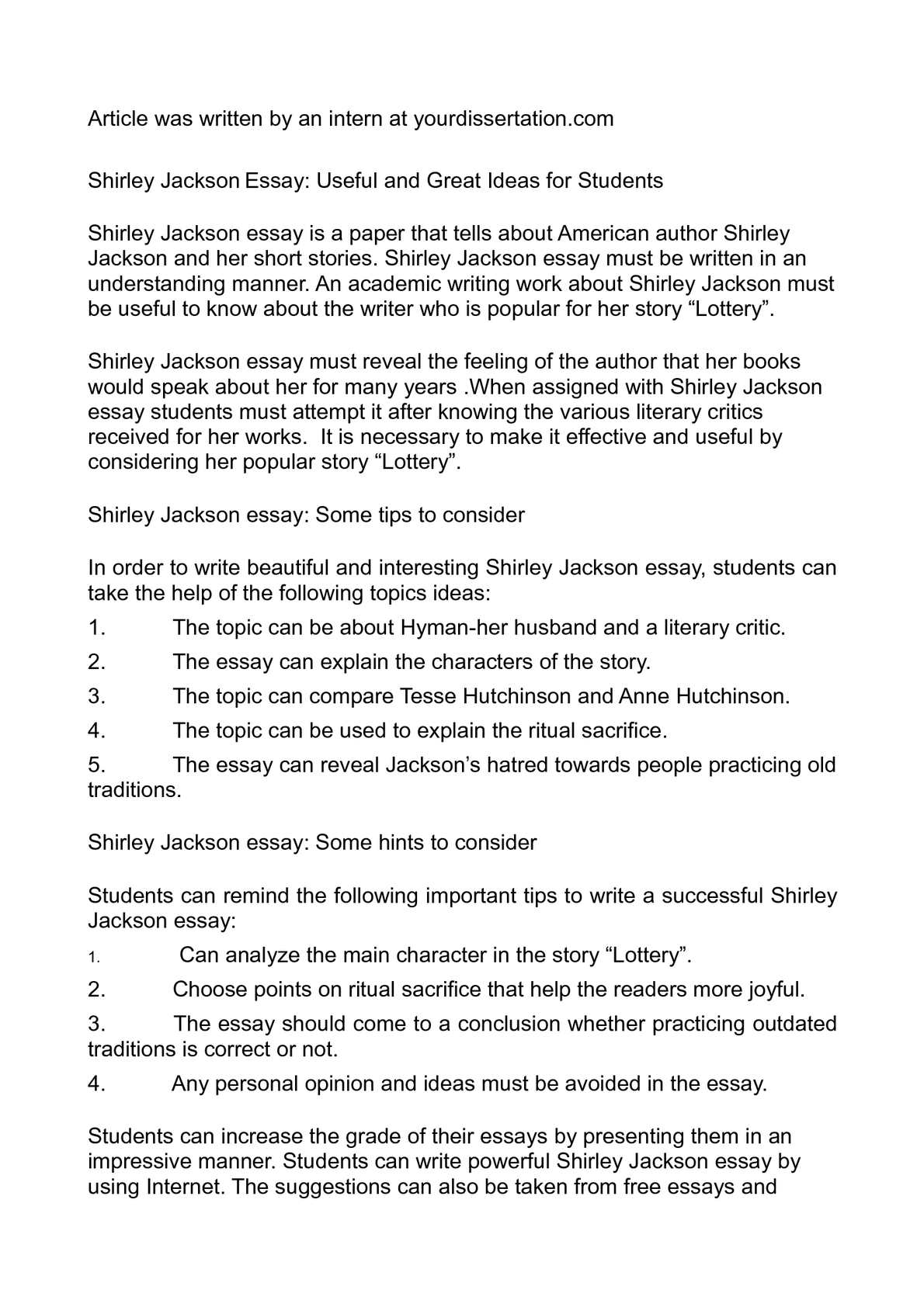 the lottery by shirley jackson characters