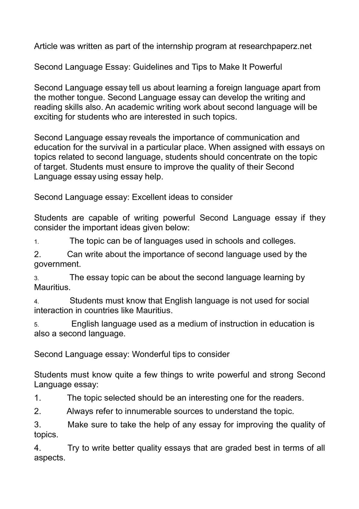 Essay Science  Thesis Statement For Essay also Argument Essay Thesis Statement Calamo  Second Language Essay Guidelines And Tips To Make It Powerful English As A World Language Essay