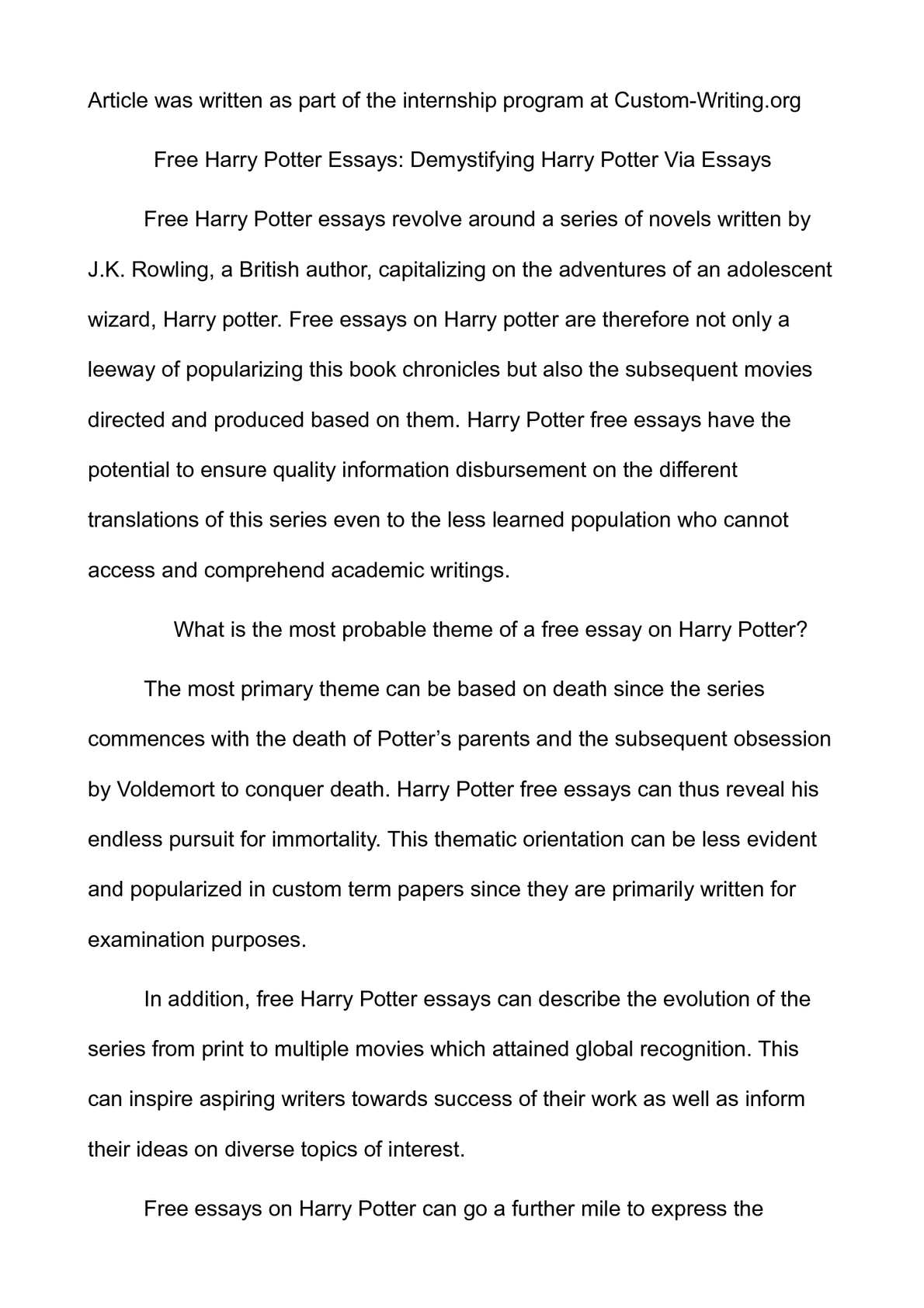 Calamo  Free Harry Potter Essays Demystifying Harry Potter Via Essays  Untraceable Speeches For Sale also Narrative Essay Thesis  High School Vs College Essay Compare And Contrast