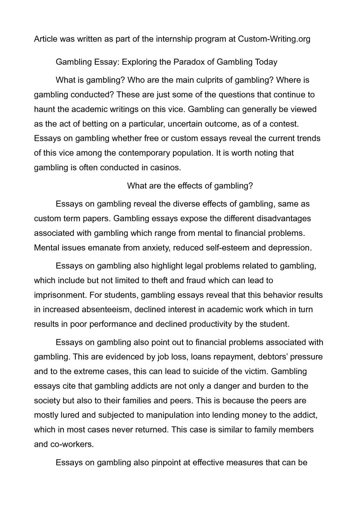 Calamo  Gambling Essay Exploring The Paradox Of Gambling Today