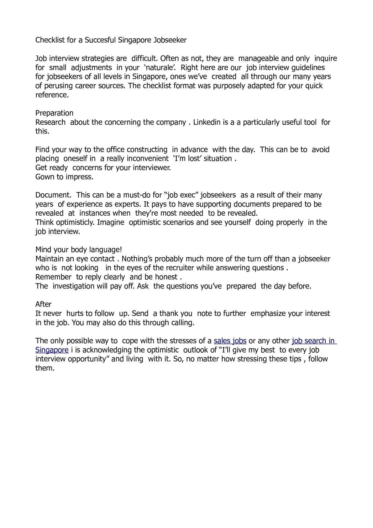 Calaméo - Checklist for a Succesful Singapore Jobseeker