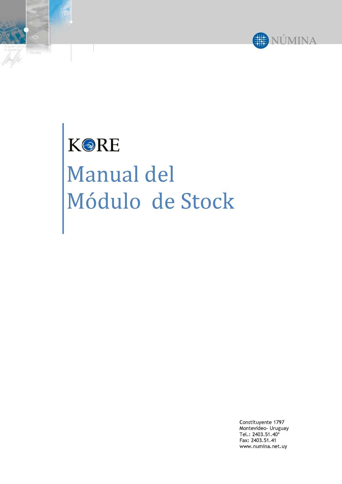 Manual de Kore, módulo de Stock