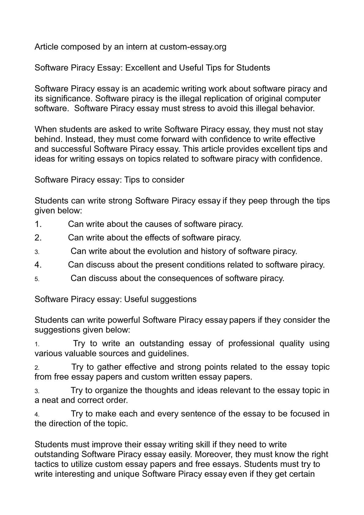 Espository Essay  Conclusion For Persuasive Essay also French Essay Calamo  Software Piracy Essay Excellent And Useful Tips For Students Persuasive Analysis Essay Example