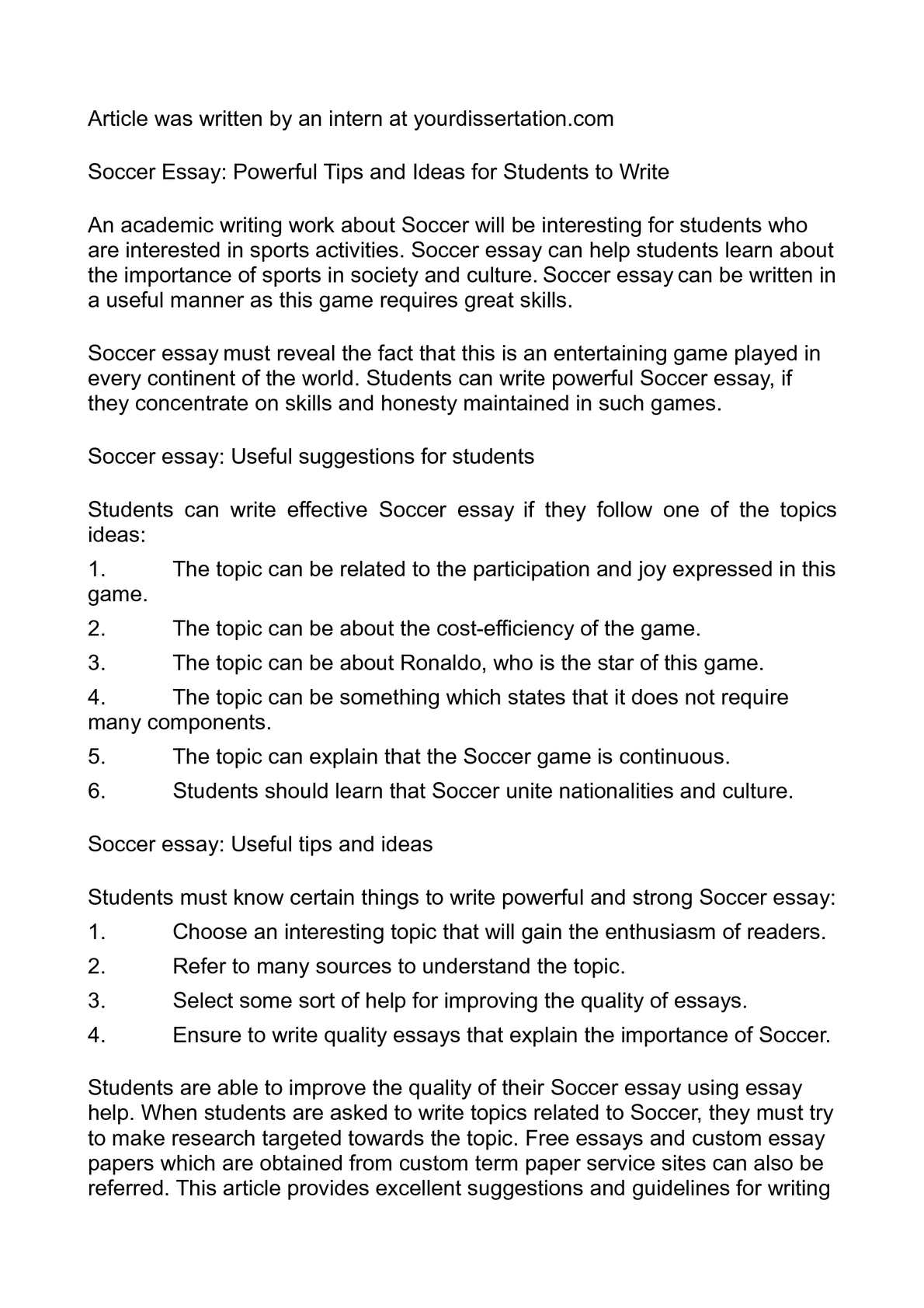 Calam o soccer essay powerful tips and ideas for students to write
