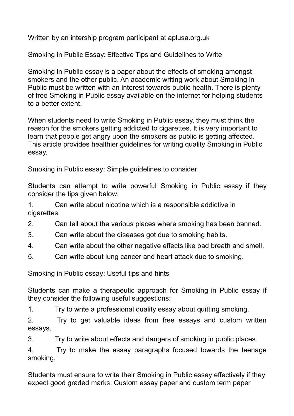 Mixed Mode Essay Smoking In Public