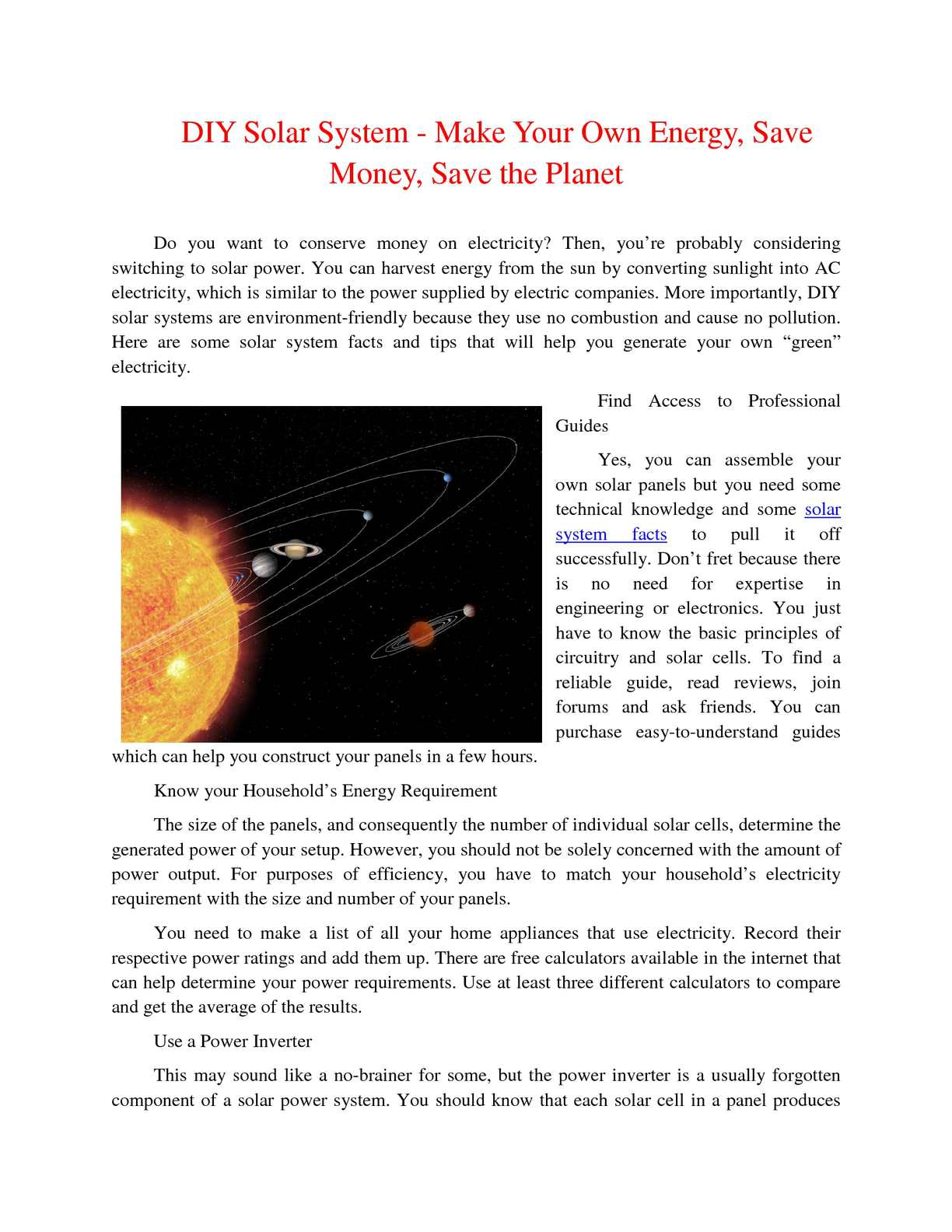 Calamo Fun Facts About The Solar System How Does Panel Make Electricity From Sunlight