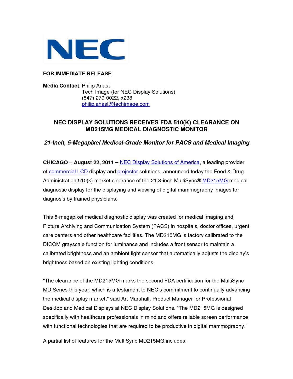 Calamo Nec Display Solutions Receives Fda 510k Clearance On