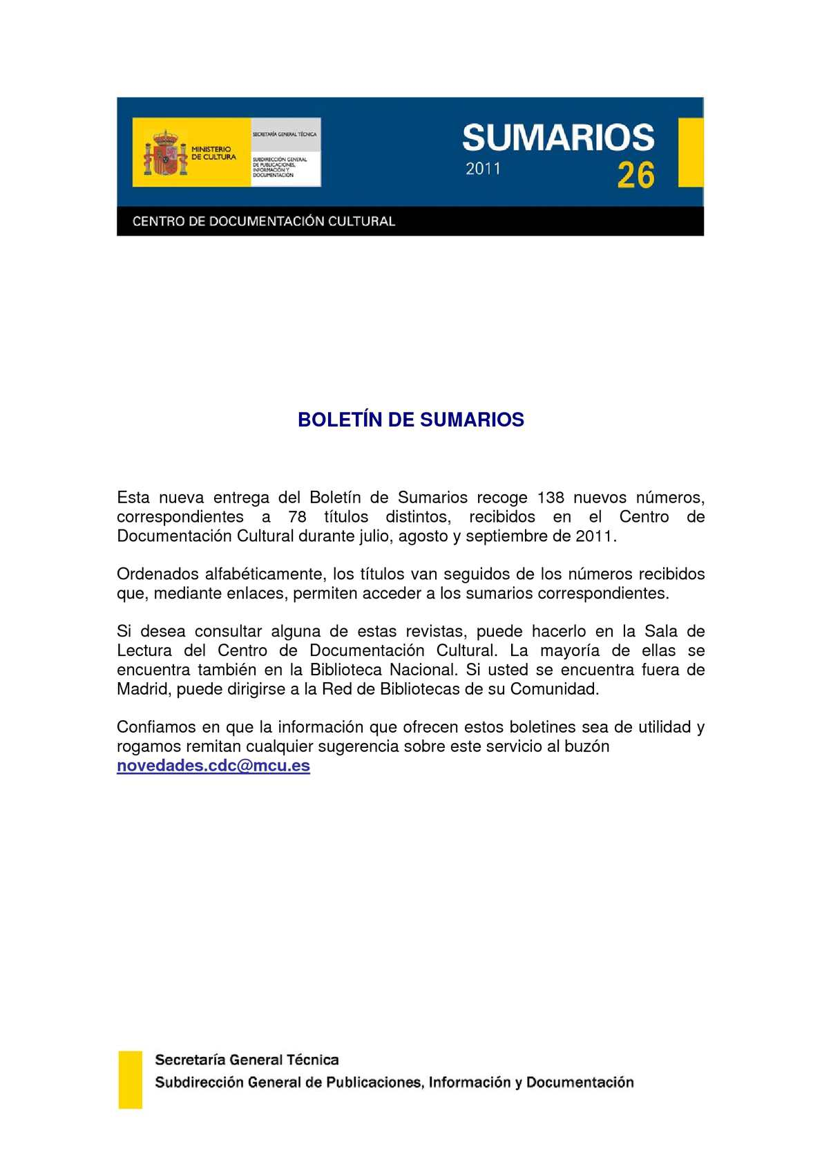 Calaméo - Boletín de Sumarios nº 26 del Centro de Documentación Cultural