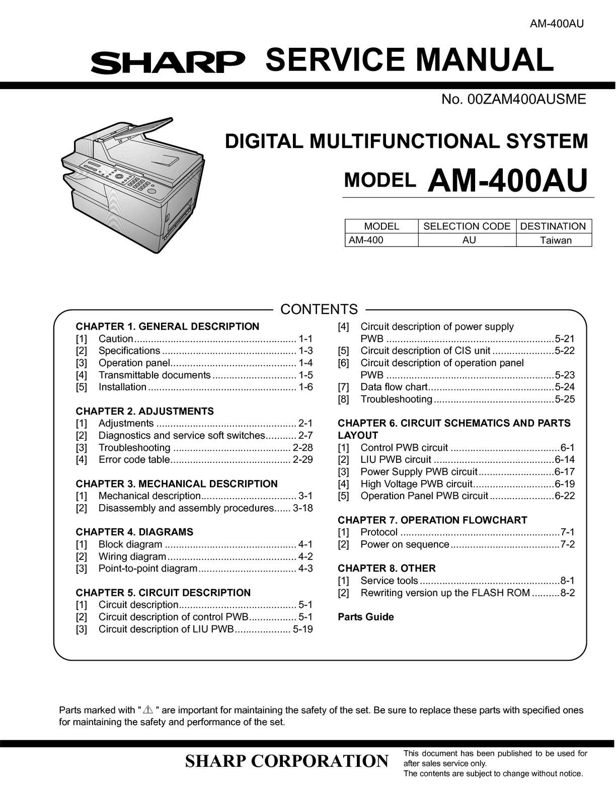 Calamo Service Manual Am410 Air Conditioning C60 Overhead System Wiring Diagram G Models For