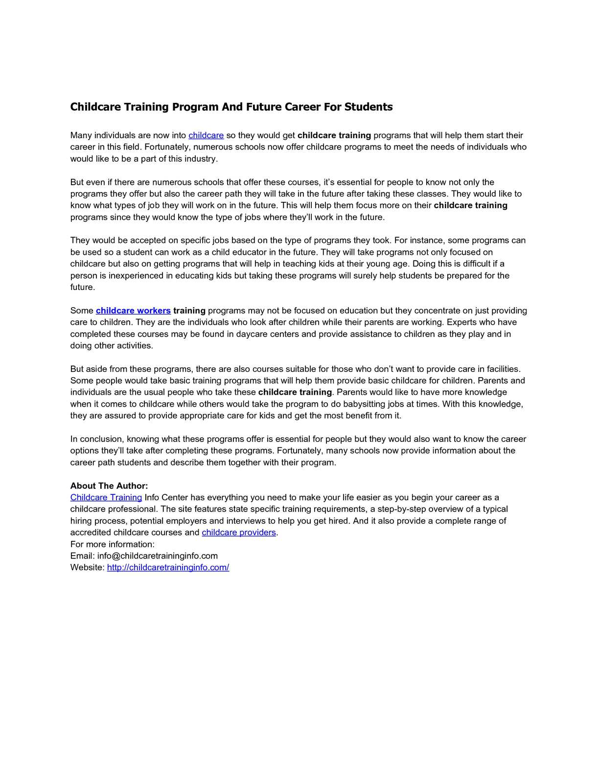 Calamo Childcare Training Program And Future Career For Students