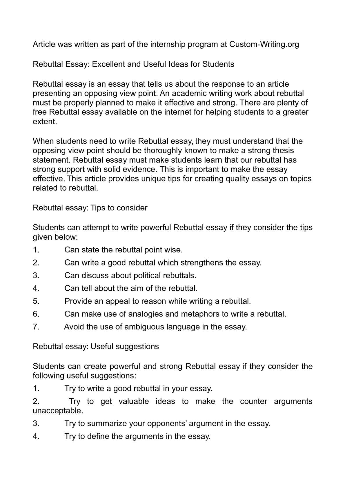 rebuttal essay excellent and useful ideas for students