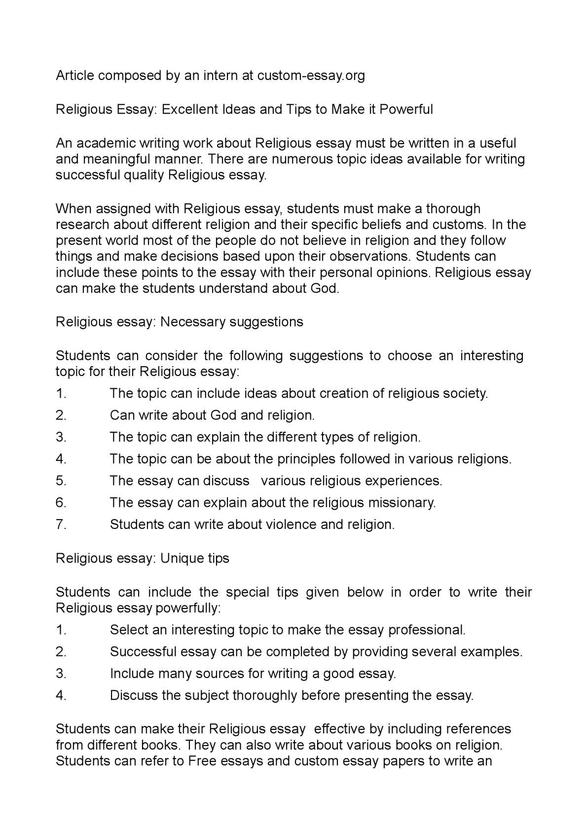 Calamo  Religious Essay Excellent Ideas And Tips To Make It Powerful