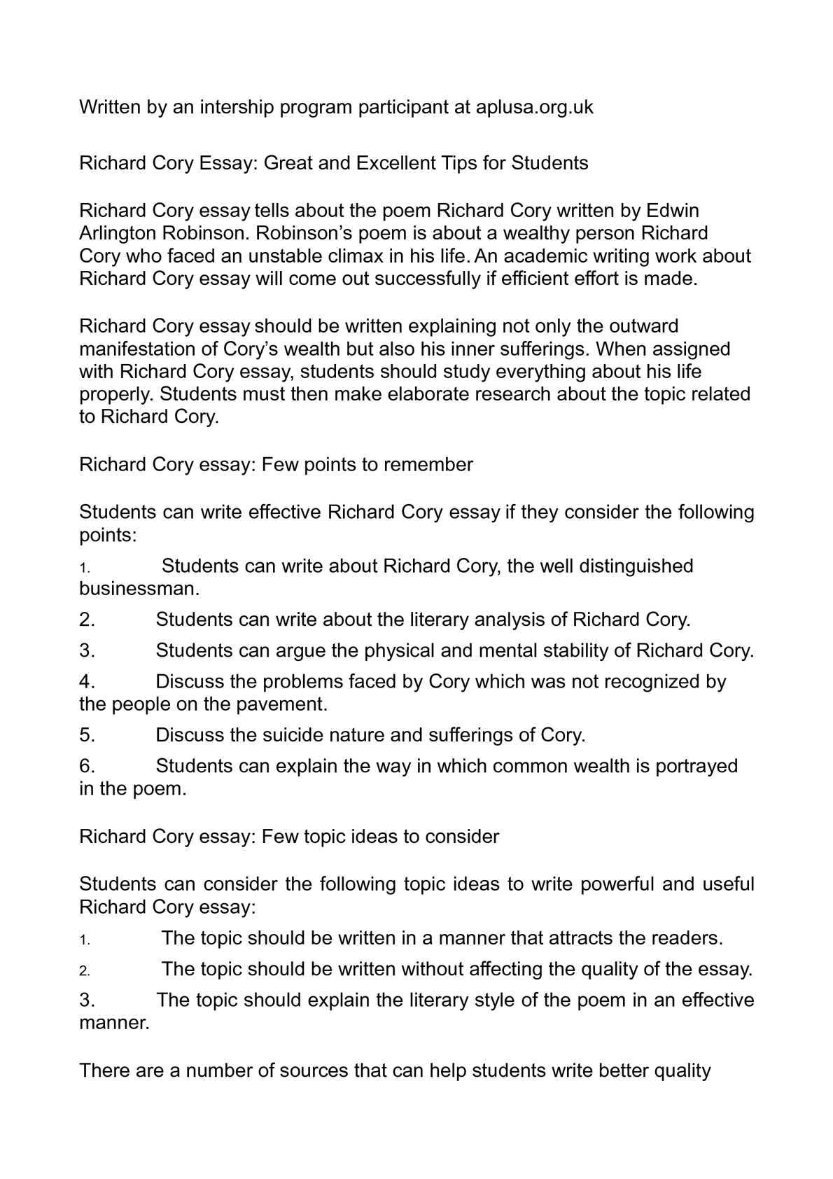 richard cory literary analysis