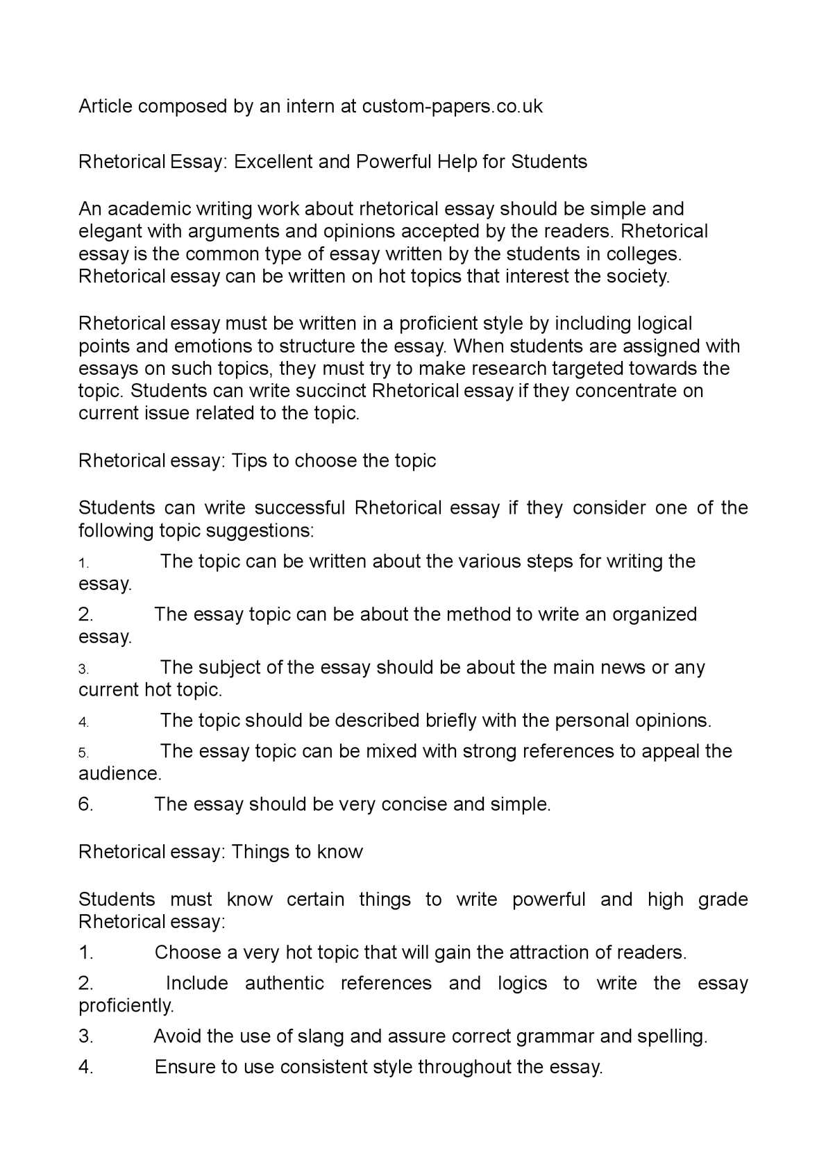Calamo  Rhetorical Essay Excellent And Powerful Help For Students