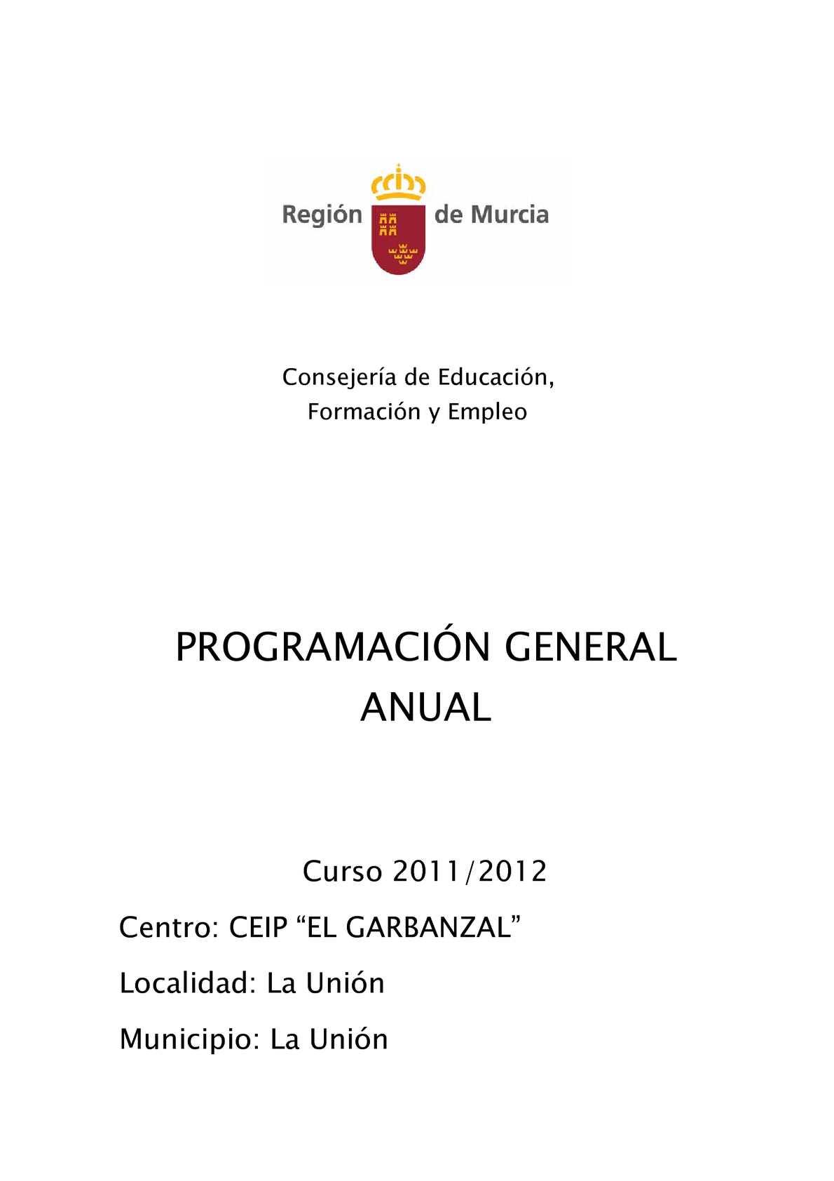 Calaméo - PROGRAMACIÓN GENERAL ANUAL CURSO 2011-12