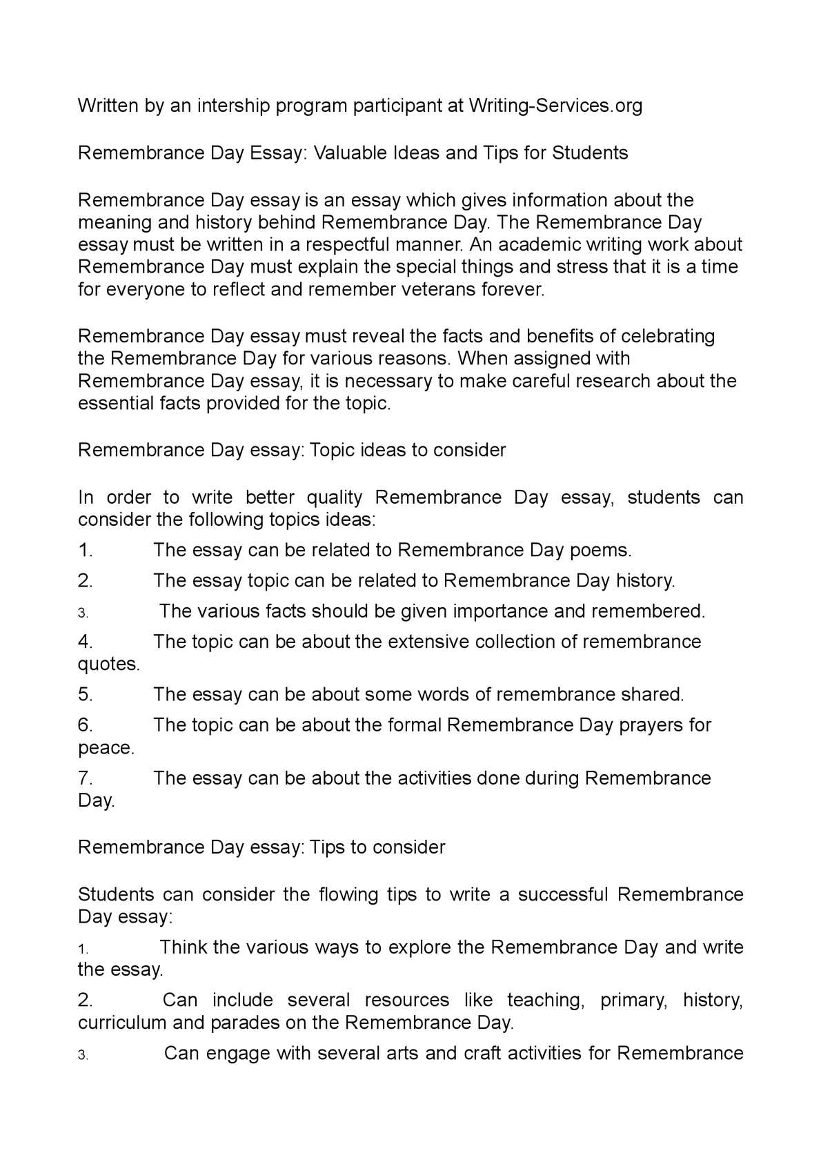 calam eacute o remembrance day essay valuable ideas and tips for students
