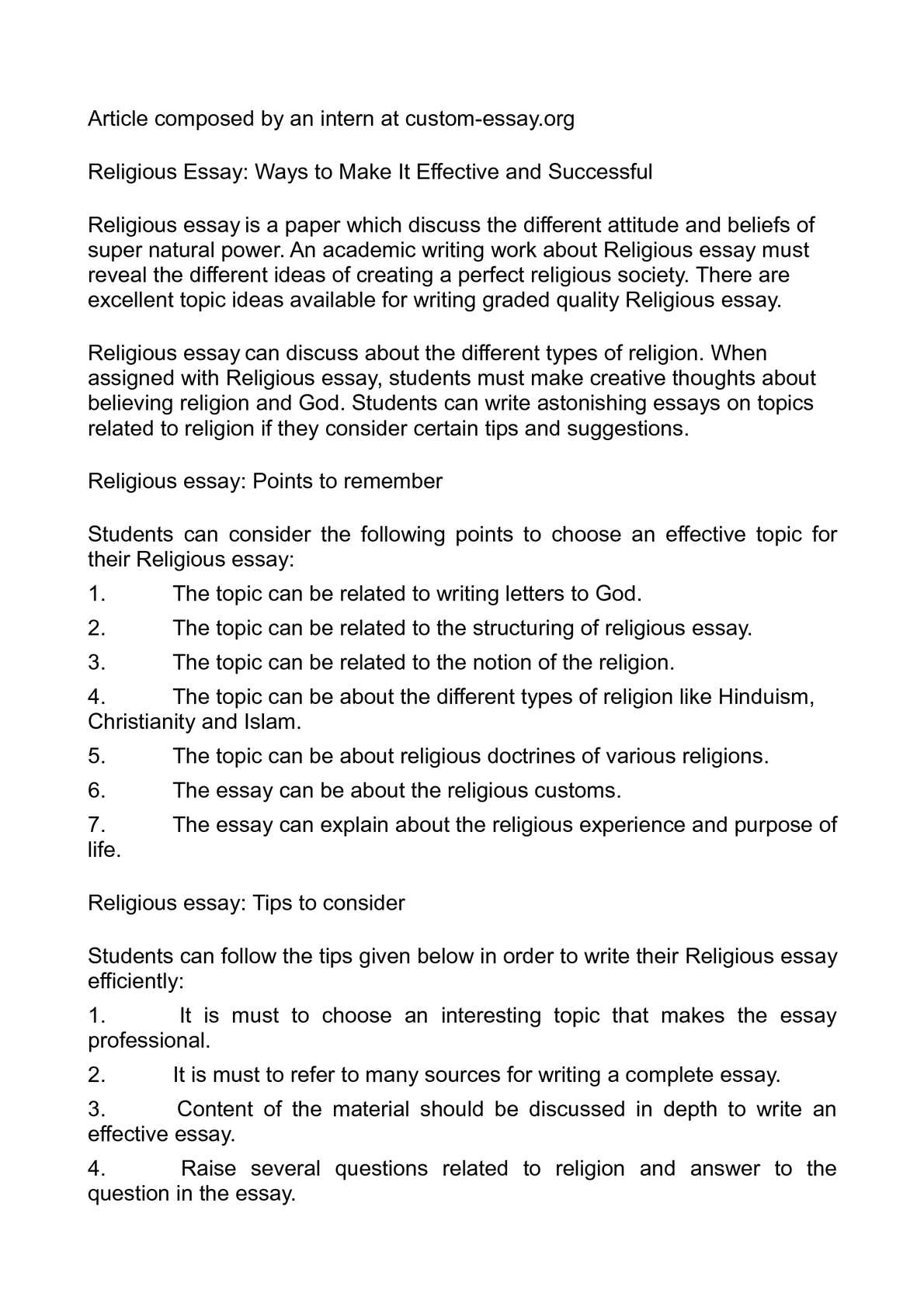 Calamo  Religious Essay Ways To Make It Effective And Successful