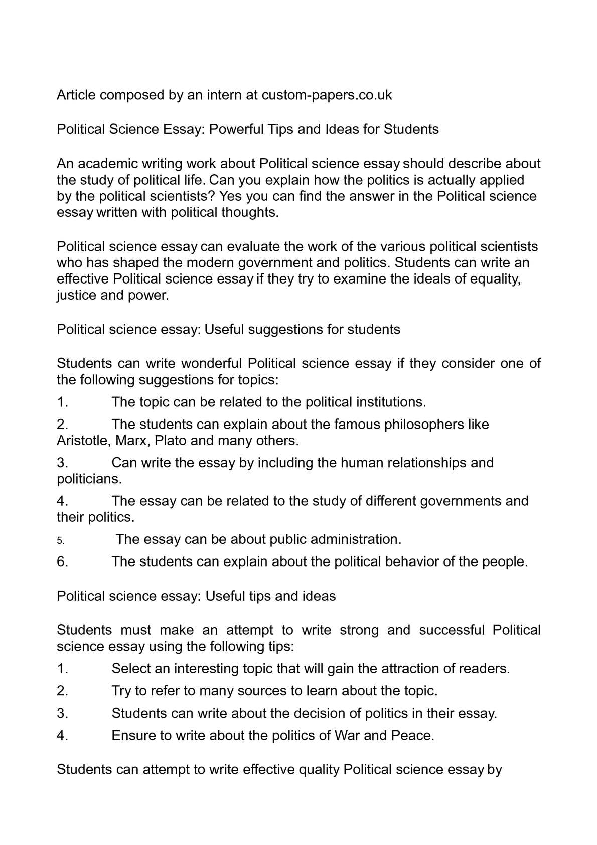Great Scholarship Essay Examples  English Literature Essay Questions also Exposition Essay Topics Calamo  Political Science Essay Powerful Tips And Ideas For Students Eveline James Joyce Essay
