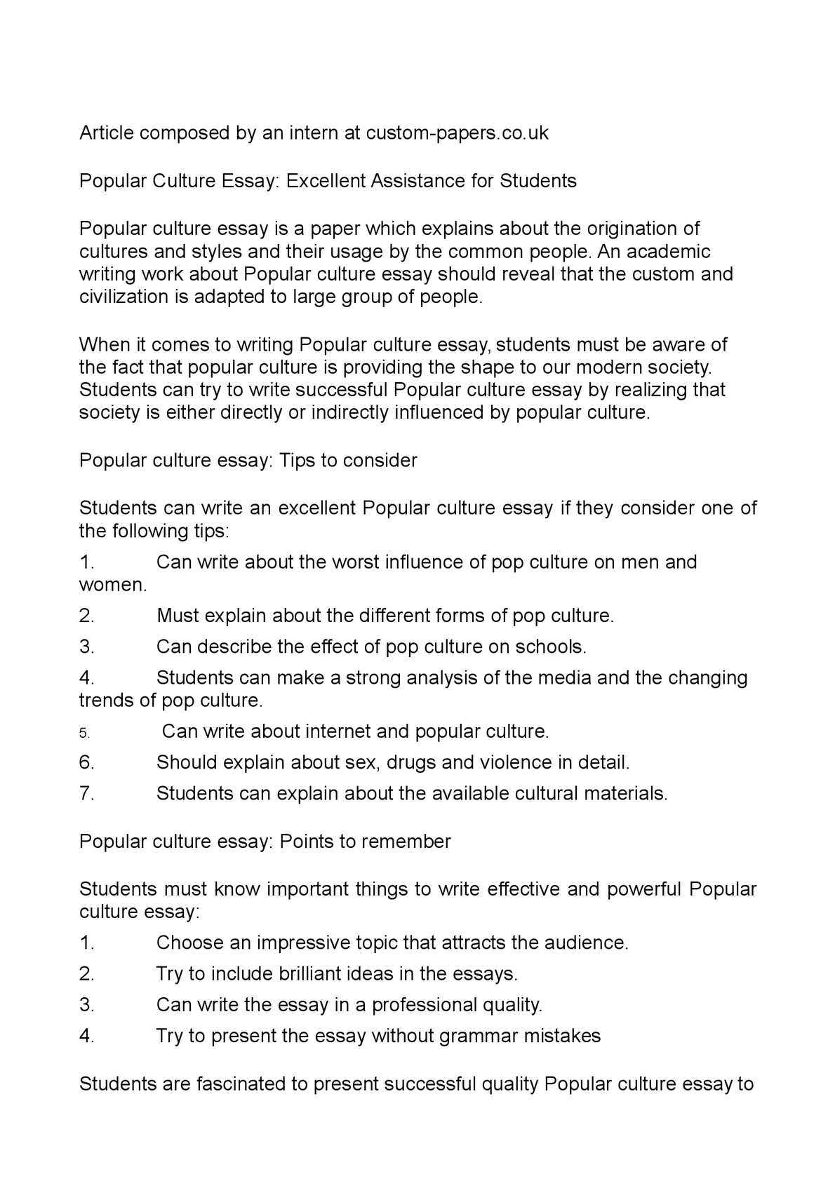 English Model Essays  Reflective Essay On English Class also Science Fiction Essay Topics Calamo  Popular Culture Essay Excellent Assistance For Students How To Use A Thesis Statement In An Essay