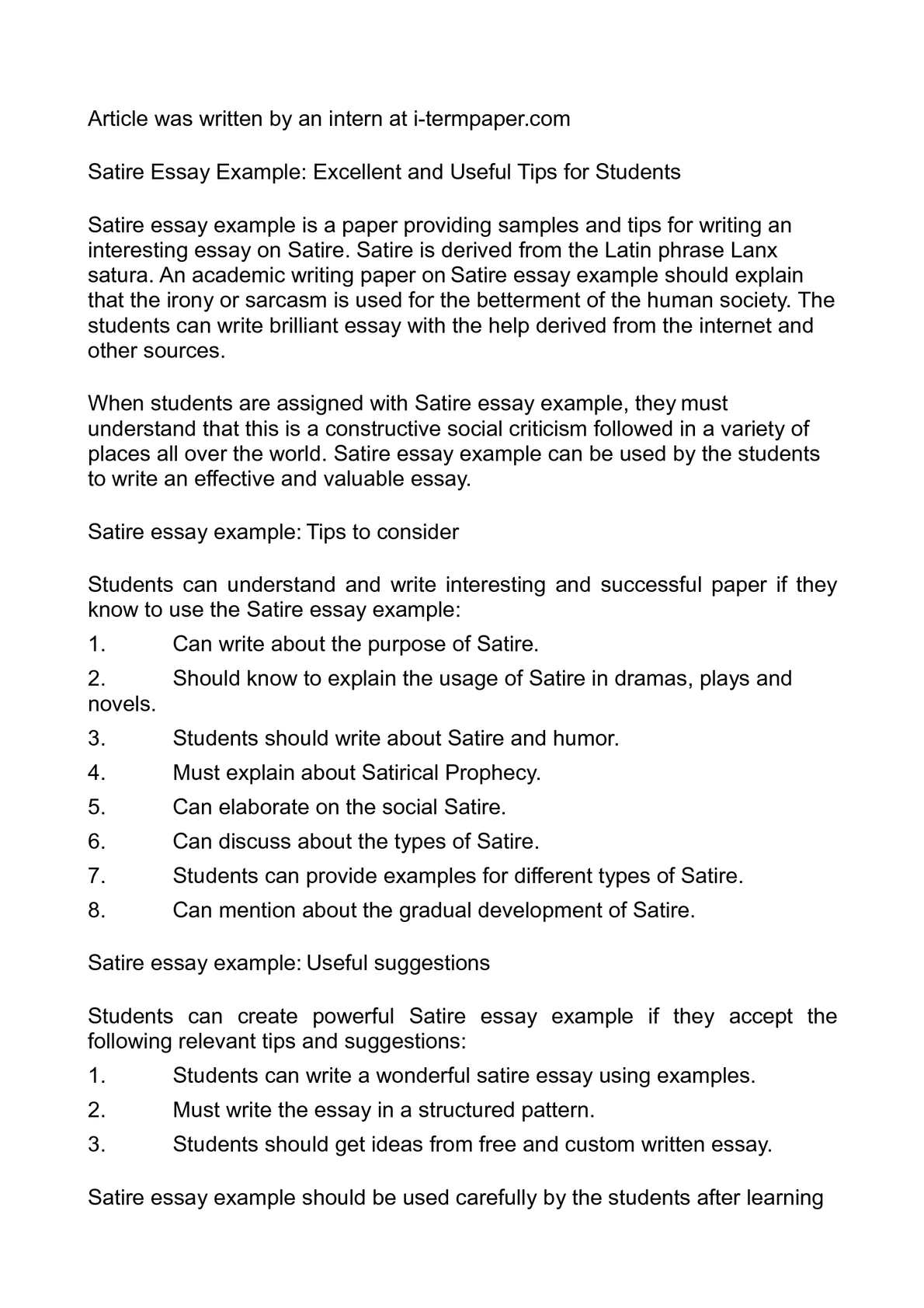 Satire Essays Examples  Underfontanacountryinncom Satirical Essay Satirical Essay Example Examples Of Satirical Essays  Proposal Essay Topics also English As A World Language Essay  English Essay Friendship