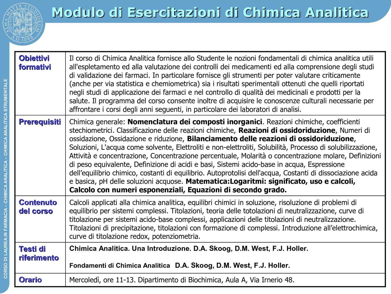 Chimica Analitica - Prof. Zattoni