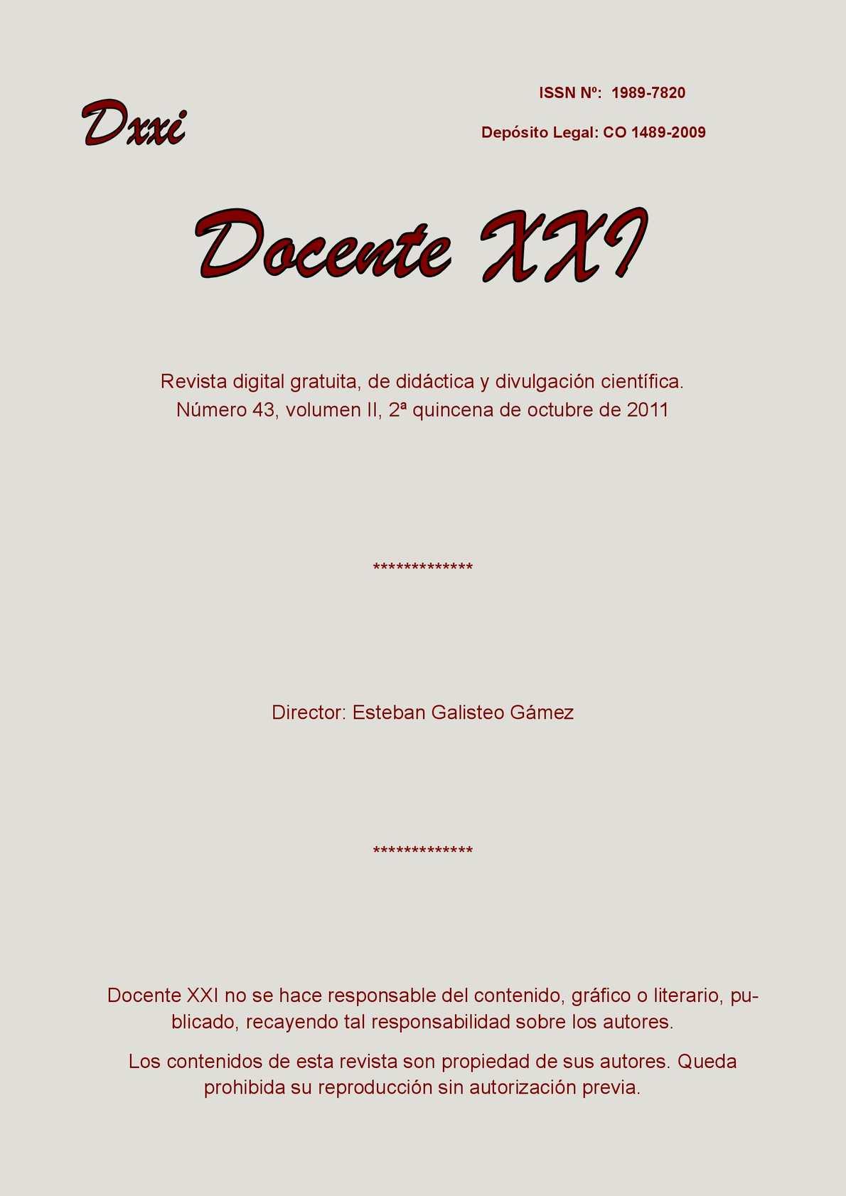 Calaméo - Docente XXI, Nº 43 Volumen II, 1ª quincena de octubre de 2011
