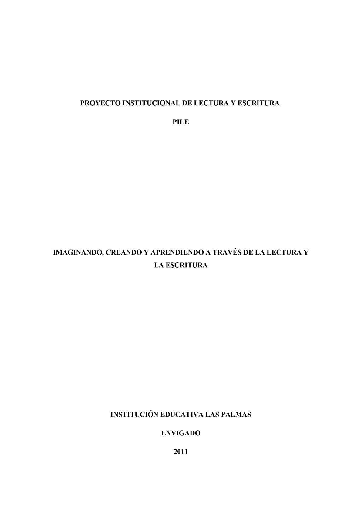 Calaméo - PROYECTO DE LECTURA Y ESCRITURA