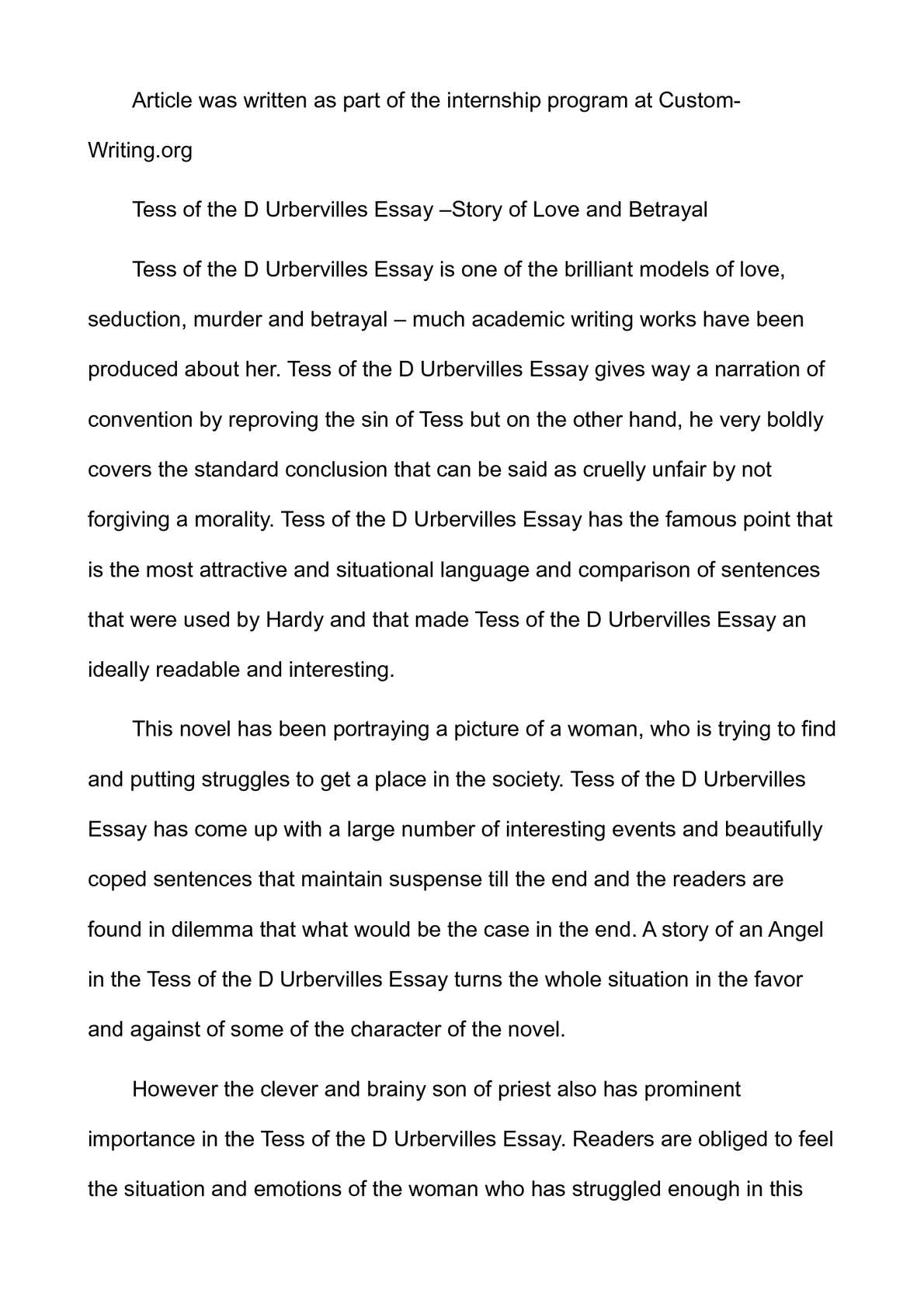 tess of the d urbervilles essay story of love and betrayal