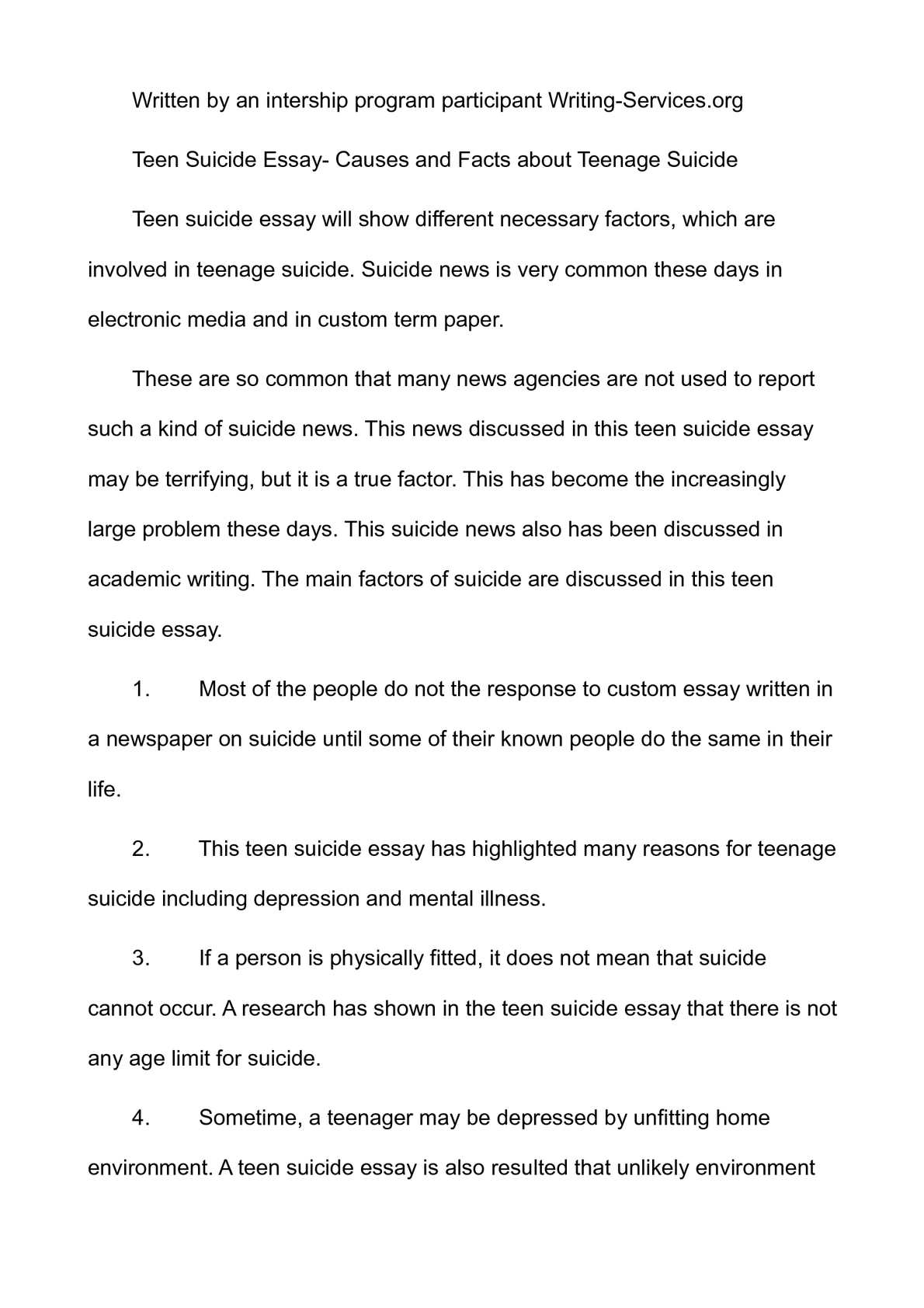 thesis statement about teenage depression Thesis statement: teenage suicide is preventable, and ways that the society can help prevent are through the media, in schools, and in a teens home.