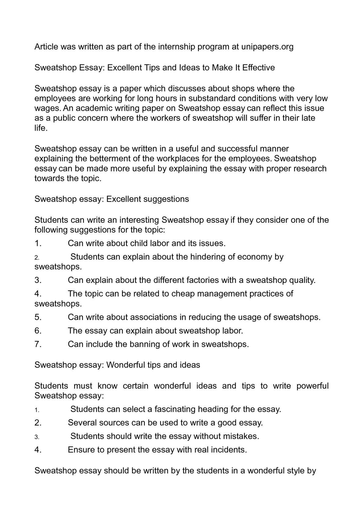 Calamo  Sweatshop Essay Excellent Tips And Ideas To Make It Effective  Essay Thesis Statements also Types Of English Essays  Thesis For Argumentative Essay