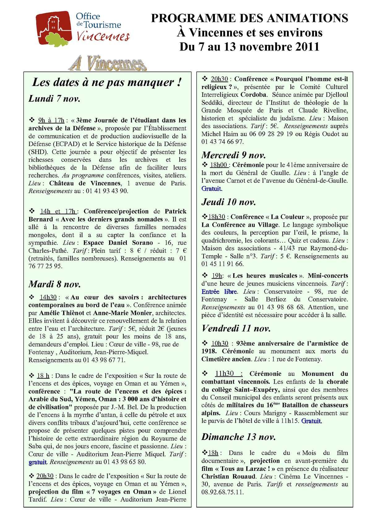 Calam o programme des animations du 7nov au 13 nov 2011 office du tourisme de vincennes - Office de tourisme vincennes ...