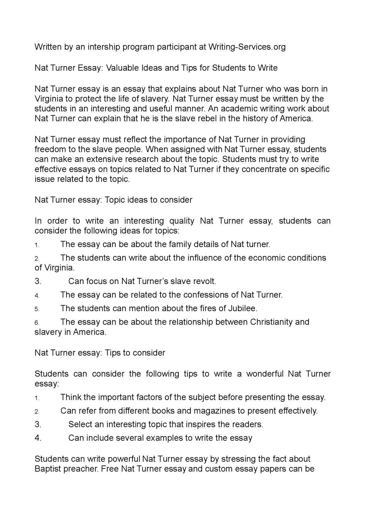 Calamo  Nat Turner Essay Valuable Ideas And Tips For Students To  Calamo  Nat Turner Essay Valuable Ideas And Tips For Students To Write Thesis For Narrative Essay also Persuasive Essay Topics For High School Students  Essay Examples English