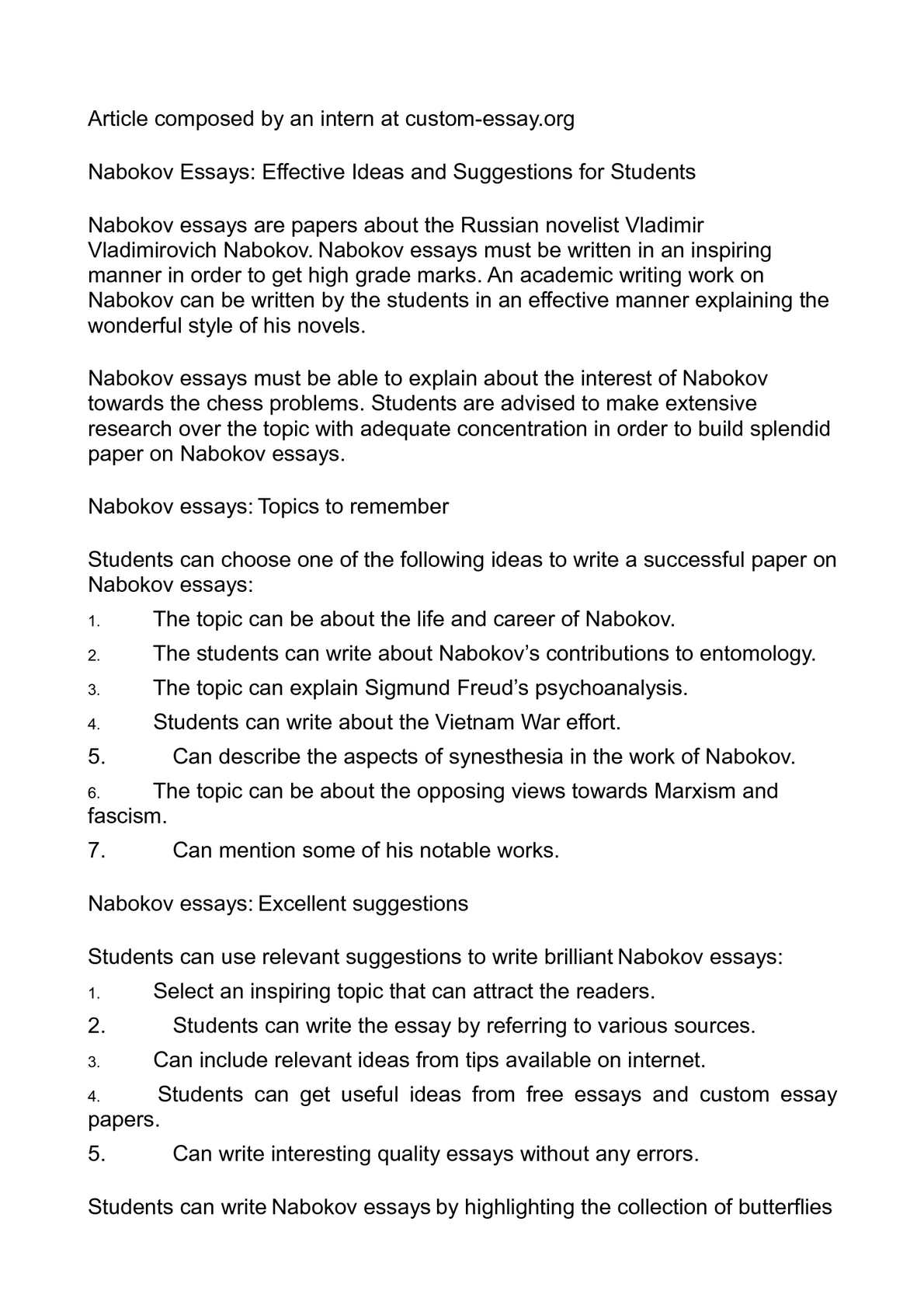essay on brain development Examples List on Nabokov