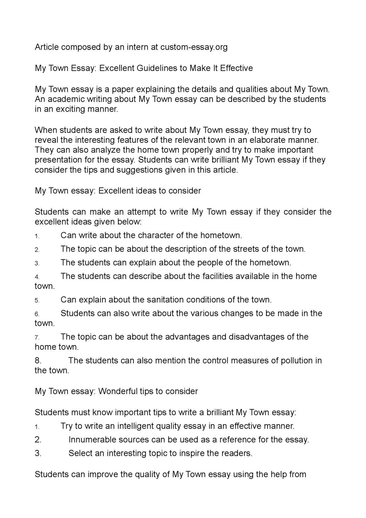 my town essay excellent guidelines to make it effective