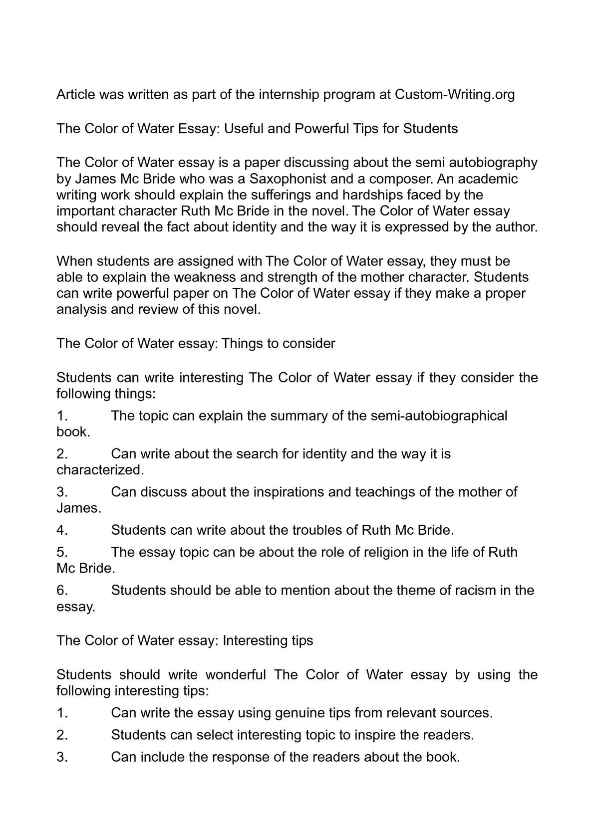 High School Essay Format Calamo  The Color Of Water Essay Useful And Powerful Tips For Students My Country Sri Lanka Essay English also Essay On Health And Fitness Calamo  The Color Of Water Essay Useful And Powerful Tips For  High School Essays