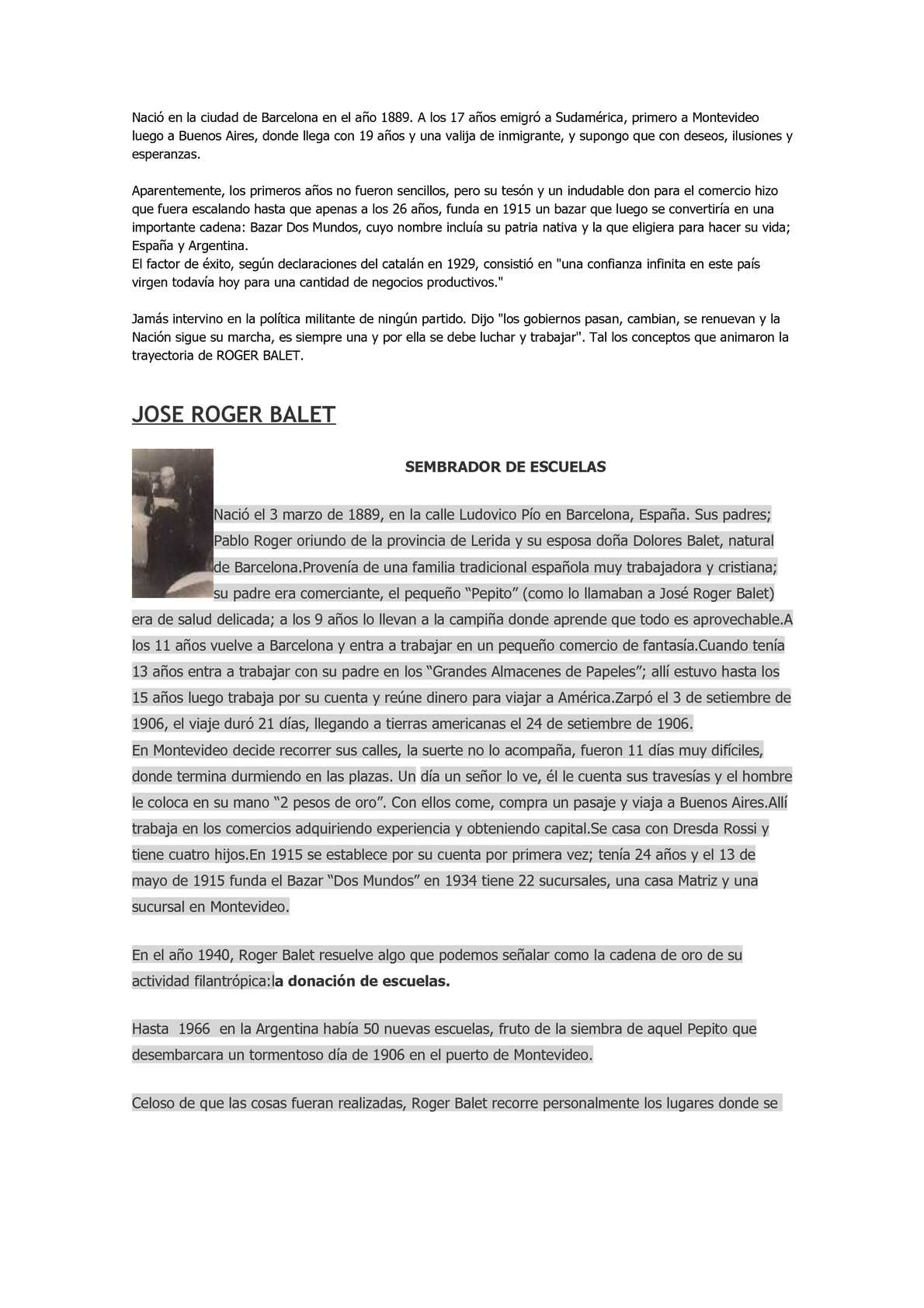 Biografia de Jose Roger Balet