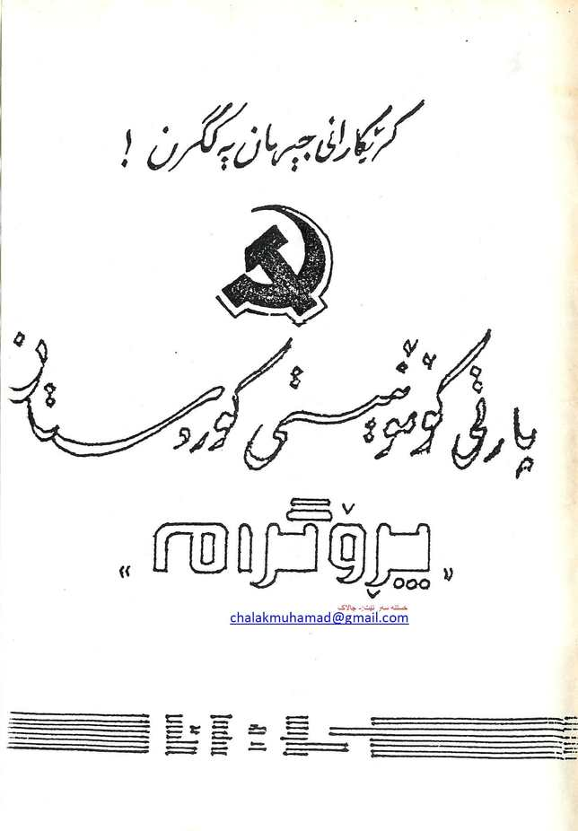 پارتی کۆمۆنیستی کوردستان - پرۆگرام