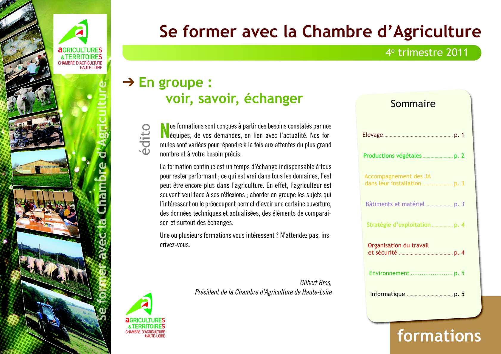 Calam o catalogue formations fin 2011 et d but 2012 feuilleter - Chambre d agriculture 44 ...