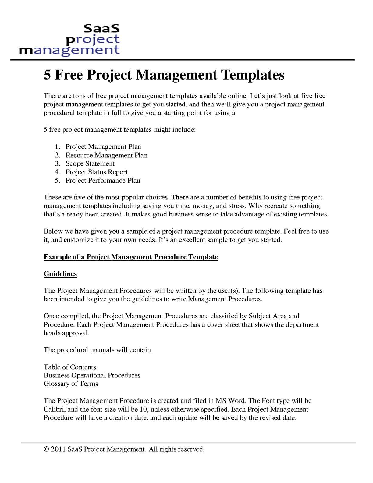 Calaméo Free Project Management Templates - Project management procedure template